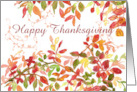 Happy Thanksgiving Autumn Leaves Watercolor Painting card