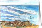 Hello Greetings Rocky Coastal Beach Ocean Water Watercolor Painting card