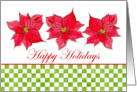 Happy Holidays, Red Poinsettia Watercolor Art Flowers card