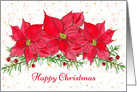 Happy Christmas Red Poinsettia Watercolor Flowers card