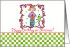 Happy Birthday on Christmas Holiday Elf Art Illustration card