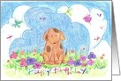 Happy Birthday Kids Puppy Dog Outdoors card