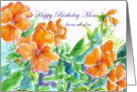 Happy Birthday Mom from all of us, Orange Pansies card