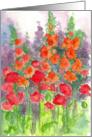 Orange Gladiolus and Red Poppy Flower Note Card
