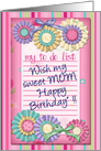 Mom Happy Birthday, To Do List, Paper Wheels, Bows, Pink card