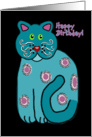 Happy Birthday! Whimsical, Contemporary Folk Art Cat, Turquoise card