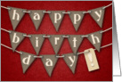 Happy Birthday! Burlap Bunting, Lace and Brocade Letters card