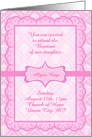 Baptism For Girl Invitation, Pink Eyelet Lace, You Customize card