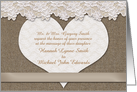 Wedding Invitation, Lace and Burlap Look, Heart, Taupe, You Customize card