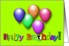 Happy Birthday Decorative Text Bright Balloons, Peridot Background card