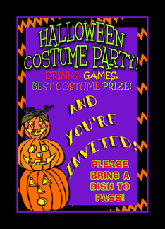 Halloween Party Invitation, Dish To Pass, Whimsical Pumpkin Stack Greeting Card