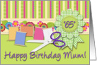 Happy Birthday Mum! 65 Years Old, Sewing Notions, Gingham Ribbon card