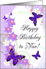Happy Birthday To You! Pretty Purple Butterflies, Floral Swirls card