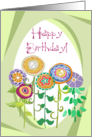 Happy Birthday! Whimsical Row of Flowers card