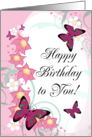 Happy Birthday To You! Pink Butterflies, Floral Swirls card