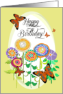 Happy Birthday! Paisley Butterflies on Golden Yellow Whimsical Flowers card