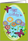 Happy Birthday! Pink Butterflies and Whimsical Flowers card