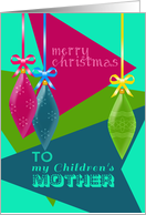 Merry Christmas To My Children's Mother, Retro Christmas Tree Bulbs card