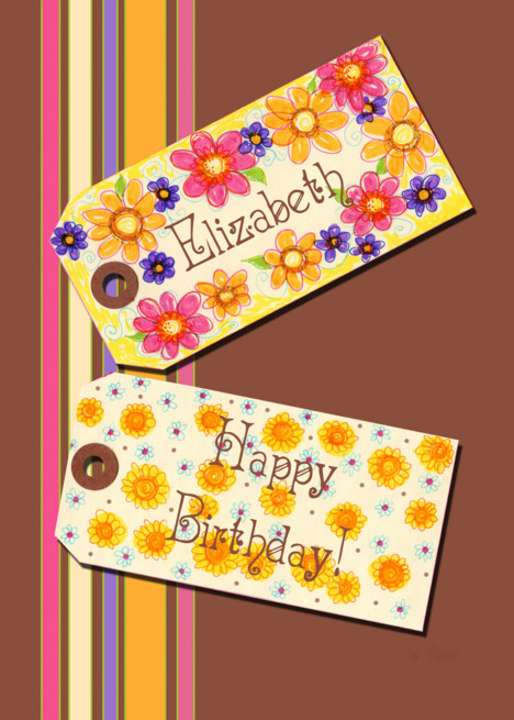 Buy gift tags and ecards - Happy Birthday Elizabeth card