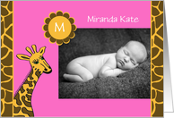 Baby Girl Photo Birth Announcement -- Baby Photo and Giraffe card