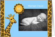 Baby Boy Photo Birth Announcement -- Baby Photo and Giraffe card