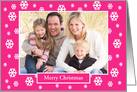 Christmas Photo Greeting Card -- Snow on Pink card