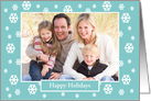 Christmas Photo Greeting Card -- Snow on Teal card