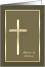 Memorial Service Invitation -- Gold Cross on Olive card