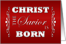 Christian Religious Christmas Card -- Christ the Savior in Burgundy card