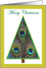 Elegant Christmas Tree Christmas Card with Peacock Feathers card
