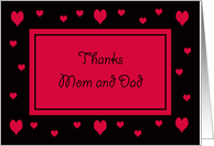 Thank you Mom and Dad -- Hearts card