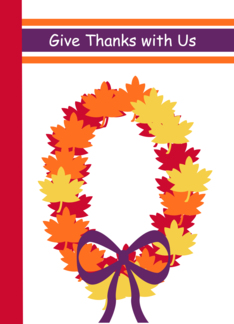 Thanksgiving Invitation Cards -- Autumn Wreath Give Thanks With Us Greeting Card