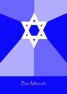 Bar Mitzvah Invitation Card -- Blue Invite Greeting Card
