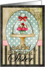 Happy Birthday, Sister, Cupcake Under Glass card