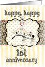 Happy 1st Anniversary, Lovebirds With Heart on Damask card