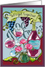 Invitation, general, grapes, wine, wine glasses, flowers card