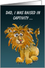Lion Dad Cartoon Fathers Day Card