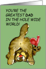 Greatest Dad Cute Cat Heart Card