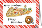 Merry Crustmas & Happy Holey-days Humor Cartoon Food card