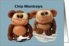 Chip Monkeys Cute Funny Thank You Card