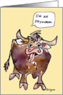 Funny Ox Cartoon Oxymoron Blank card
