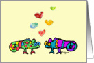 Two Cartoon Chameleon in Love card