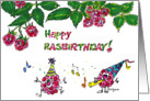 Cute Happy Rasbirthday Cartoon card