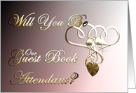 Will You be our Guest Book Attendant Wedding invitation Participation love doves entwined hearts golden bird doves on heart card