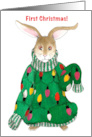 Baby's First Christmas - Ugly Christmas Sweater Bunny card