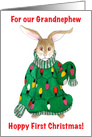 Grandnephew, 1st Christmas - Ugly Christmas Sweater Bunny card