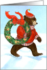 Christmas Party Invitation, Brown Bear's Wreath card