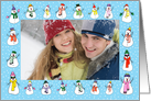 Christmas Snowmen Photo card horizontal card