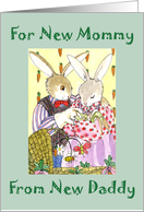 Baby Congratz New Mom fr New Dad Bunny Family card
