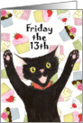 Friday the 13th Birthday Cat card